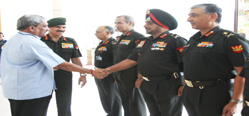 Defence Minister Manohar Parrikar and Army chief Dalbir Singh Suhag meet top Army Commanders including Northern Command chief Lt Gen D S Hooda and Western Command chief Lt Gen K J Singh in New Delhi on Monday.