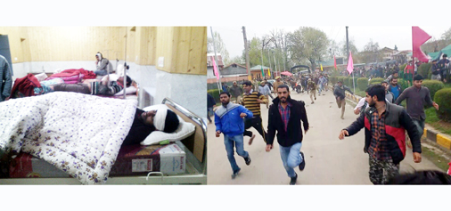 Injured students admitted in hospital (L) and police chasing students on campus (R).