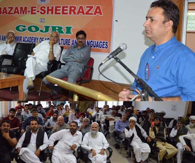 Minister for CAPD Ch Zulfkar speaking during a function organised by JKAACL on Tuesday.