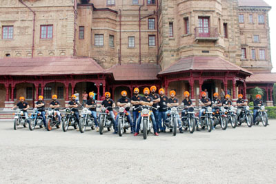 Bikers ready to go during a Rally organized by Sikh Motorcycle Club, J&K.