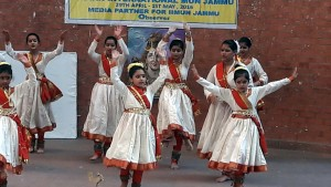 Students performing colourful activity during IIMUN Conference at Heritage School in Jammu.