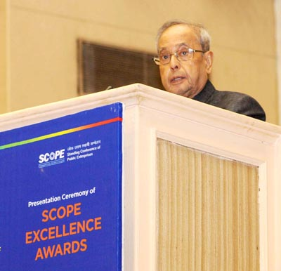 President Pranab Mukherjee addressing the presentation ceremony of the SCOPE Excellence Awards, on the occasion of the Public Sector Day, in New Delhi on Monday. (UNI)