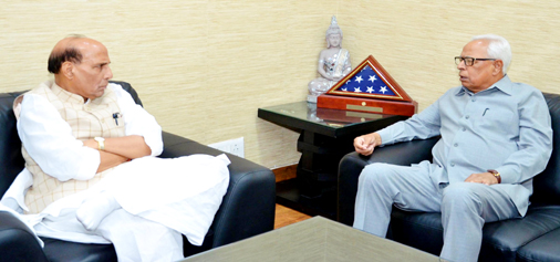 Governor  N N Vohra calling on Union Home Minister  Rajnath Singh in New Delhi on Tuesday. (UNI)