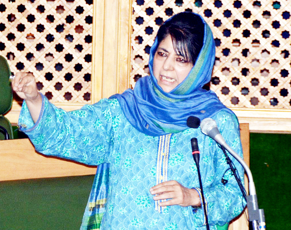 Chief Minister Mehbooba Mufti speaking in Legislative Assembly on Saturday. 	 	— Excelsior Photo