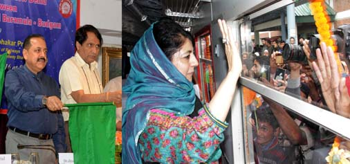 Railways Minister Suresh Prabhu and MoS in PMO Dr Jitendra Singh flagging off trains in Kashmir from New Delhi via video conferencing while Chief Minister Mehbooba Mufti boards the train after flagging it off in Anantnag on Thursday.