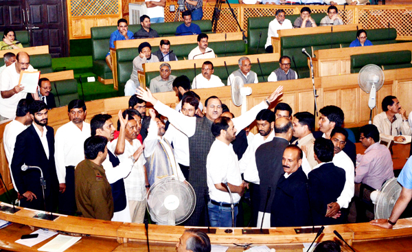 Legislators of Congress party protesting against NFSA in Assembly on Saturday.	— Excelsior Photo
