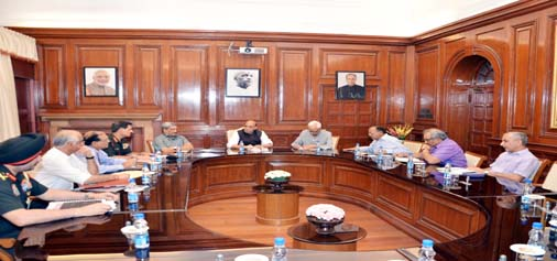 Home Minister Rajnath Singh chairing security review meeting in New Delhi on Thursday.