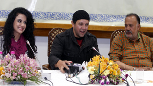 Veteran Bollywood actor Alok Nath along with Producer Imran Khan and Actress Sara Afreen Khan addressing a press conference at SKICC  in Srinagar on Wednesday.