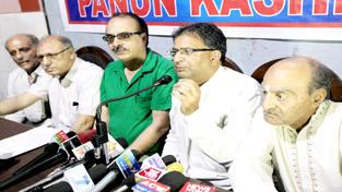 Panun Kashmir leaders at a press conference at Jammu on Friday. -Excelsior/Rakesh