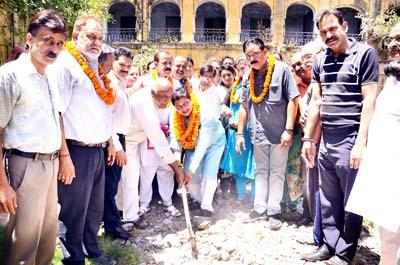 Rajesh Gupta, MLA laying foundation stone of parking project at historic Mubarak Mandi on Sunday.
