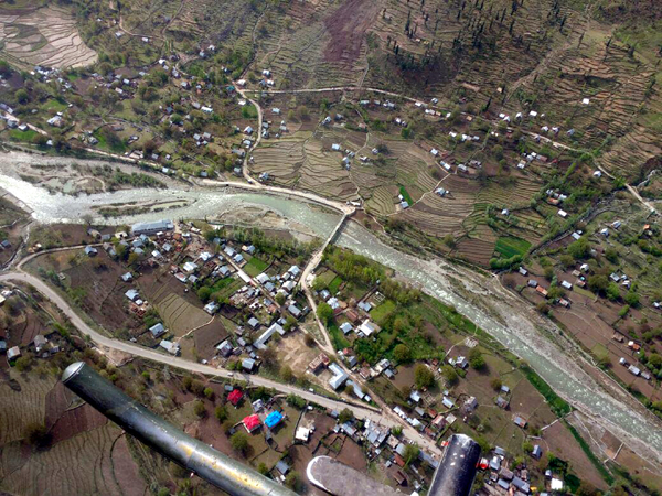 An aerial view of Mahagunus Top taken by 'Advance Recce Team' of Anantnag police.