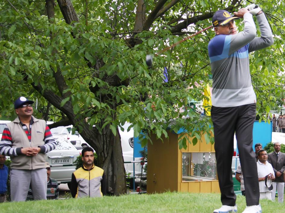 DGP K Rajendra Kumar hitting a shot to declare Police Golf Course open.