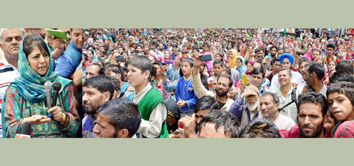 Chief Minister Mehbooba Mufti addressing a public meeting at Tosamaidan on Sunday.