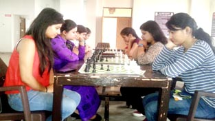 Players in action during Jammu division selection chess events at Ace Chess Academy, Trikuta Nagar in Jammu.