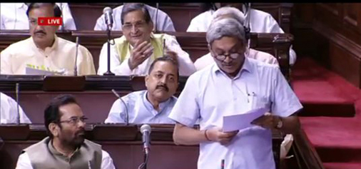 Defence Minister Manohar Parrikar replying to discussion on Agusta Westland Helicopter deal in Rajya Sabha on Wednesday.