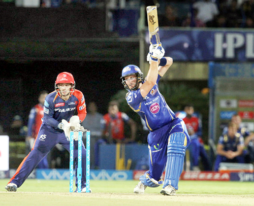 Martin Guptill of Mumbai Indians carves one over the off side against Delhi Daredevils at Visakhapatnam on Sunday.