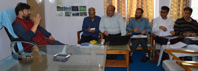 Forest Minister, Ch. Lal Singh chairing meeting to review functioning of WUCMA at Srinagar.