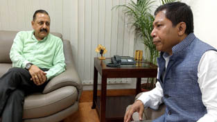Chief Minister of Meghalaya, Dr Mukul Sangma calling on Union Minister Dr Jitendra Singh at New Delhi.