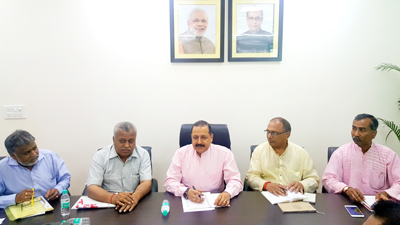 Union Minister Dr Jitendra Singh holding a meeting with Labour Union leaders representing Bharatiya Mazdoor Sangh (BMS) at New Delhi on Saturday.
