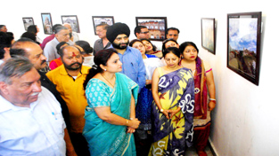 MoS for Culture, Priya Sethi during heritage photo exhibition at Kala Kendra on Thursday.