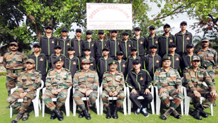 GOC Tiger Division Maj Gen Sanjeev Narain and other officers along with children posing for photograph before flag off ceremony at Satwari.