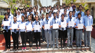 Students posing for photograph after clearing certification test from IIT Bombay.