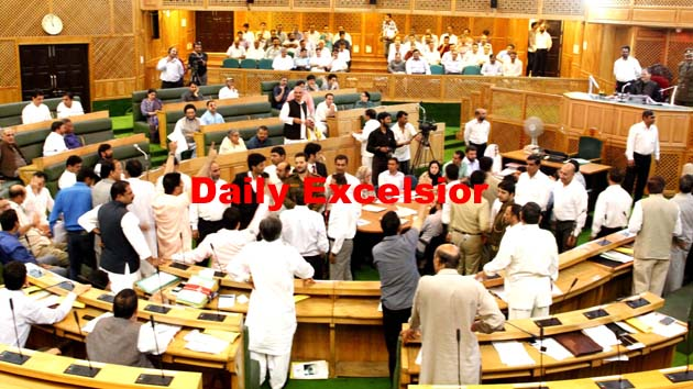 Opposition came into the well of the house for  allegedly not calling the respective  MLA's in various official tours conducted by ministers of ruling part….Excelsior\Shakeel-ul-Rehman