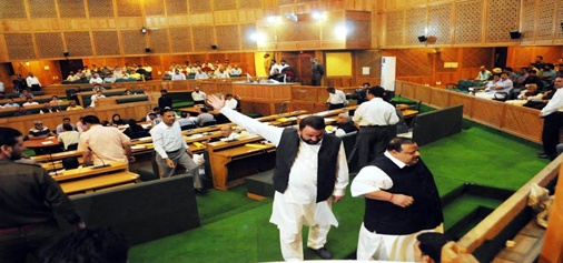 NC MLAs staging walk-out in Assembly on Tuesday. (UNI)