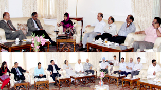 Chief Minister, Mehbooba Mufti interacting with Standing Committee of PSCs in Srinagar on Friday.