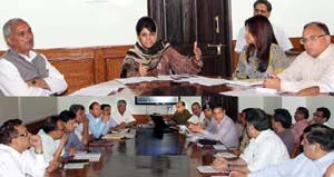 Chief Minister, Mehbooba Mufti chairing a meeting at Srinagar on Monday.