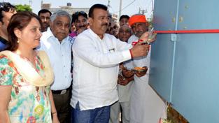 Industries Minister Chander Prakash Ganga inaugurating electric sub-station on Tuesday.