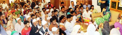 Chief Minister, Mehbooba Mufti meeting with people at her official residence on Sunday.