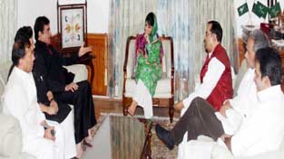 Chief Minister, Mehbooba Mufti interacting with PSC members in Srinagar on Monday.