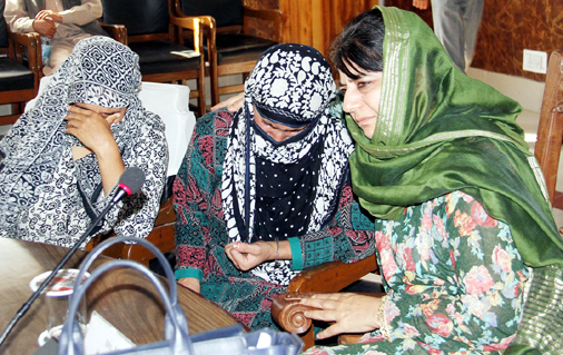 CM Mehbooba Mufti condoles the death of a youth, killed during recent unrest, with his family members in Anantnag on Thursday