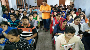 KAS aspirants during a lecture at SR College of Competitions Jammu on Thursday.