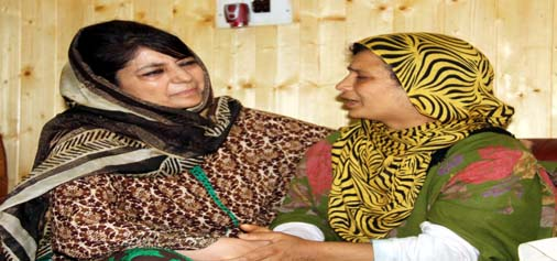 Chief Minister Mehbooba Mufti meeting families of current unrest victims in Kupwara on Saturday.