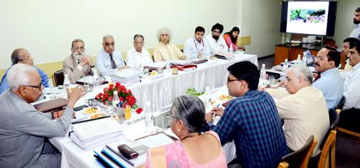Governor N N Vohra chairing 58th Board Meeting of Shri Mata Vaishno Devi Shrine Board in New Delhi.
