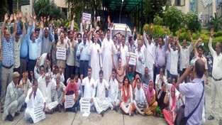 NPP activists protesting outside DSE office at Jammu on Thursday.