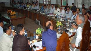 Minister for Public Works, Abdul Rehman Veeri reviewing development works in Kashmir.