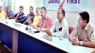 President CCI Jammu, Rakesh Gupta at a traders' meeting in Jammu on Thursday.