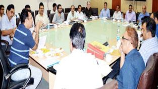 Minsiter for CAPD, Zulfkar Ali during a meeting at Jammu on Friday.