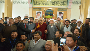 Dalai Lama during his meeting with religious scholars at Imam Bargah in Leh.   —Excelsior/Stenzin