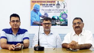 Representatives of JKOA at a press conference at New Delhi on Friday.