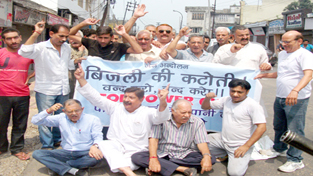 Activists of Jammu West Assembly Movement raising slogans in support of their demands on Friday.