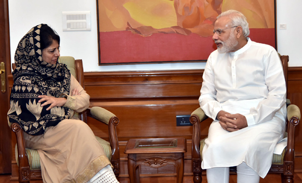 Chief Minister Mehbooba Mufti in a meeting with Prime Minister Narendra Modi in New Delhi on Saturday.