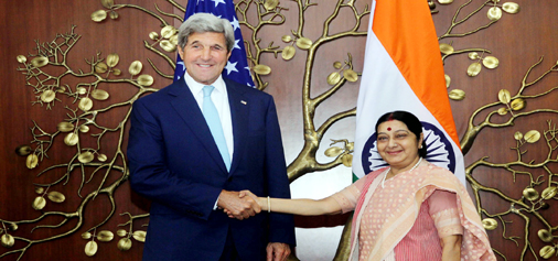 External Affairs Minister Sushma Swaraj and Secretary of State of USA John F Kerry, meeting in New Delhi on Tuesday. (UNI)