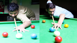 Players in action during match at Billiards Hall, MA Stadium, Jammu on Sunday.