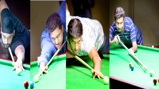 Cueists aiming at target during Ist Jammu District Open 6 Red Ball Championship. -Excelsior/Rakesh