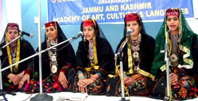 Participants presenting item during intra cultural meet at Kalakote in district Rajouri.