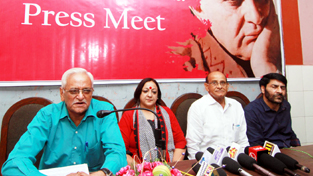 An official of KVMT along with others addressing a press conference at Press Club, Jammu.